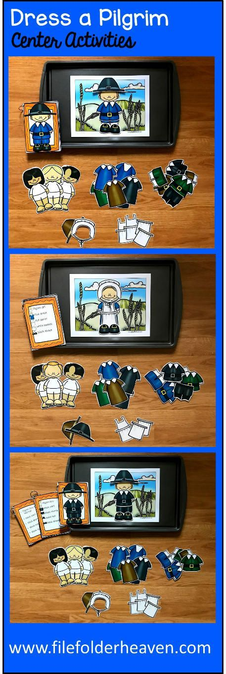 These Dress a Pilgrim Center Activities can be set up as cookie sheet activities, a magnet center or completed as cut and glue activities. This activity includes: 1 background,  pilgrim building/dressing pieces, and three sets of building cards for differentiation. Students can dress different pilgrims by looking a picture cards.
