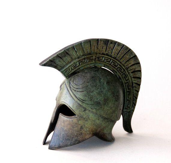 Bronze Helmet, Greek Key Crest Helmet, Ancient Corinthian War Helmet, Bronze Metal Sculpture, Collectible Timeless Art, Museum Quality Art on Etsy, $154.19