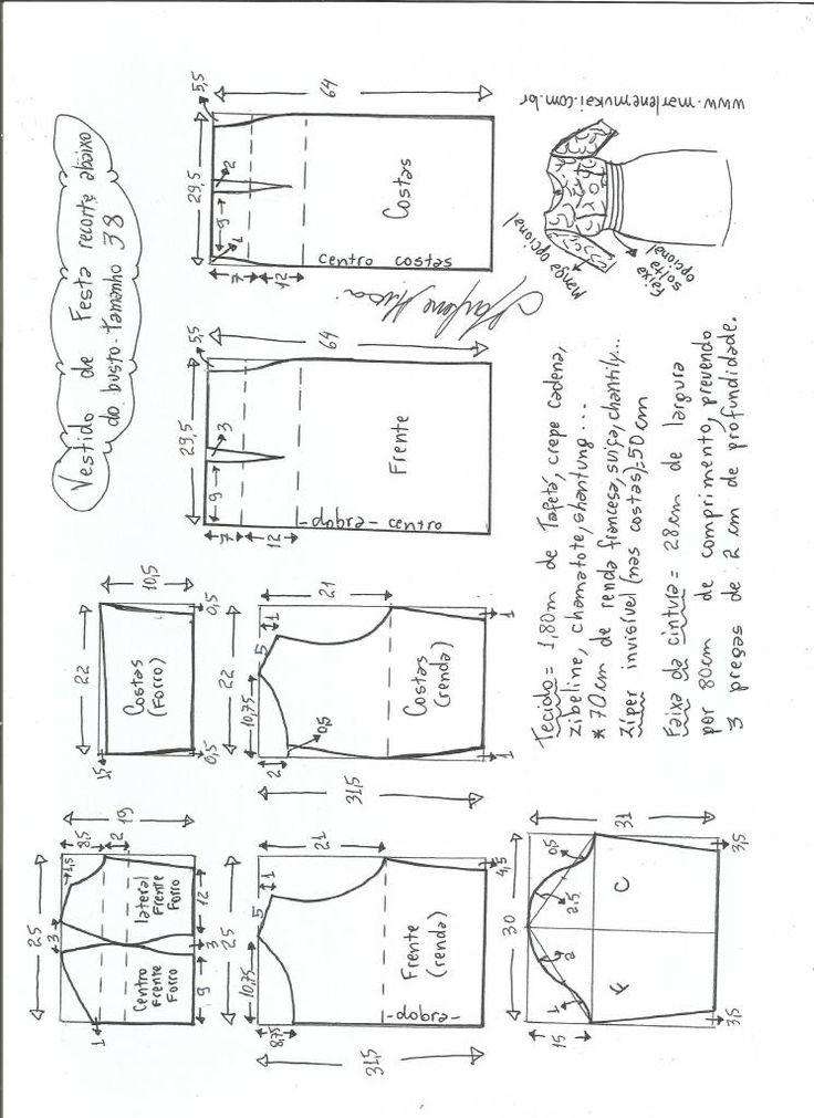 Vestido de festa recortado   – Moldes de roupas