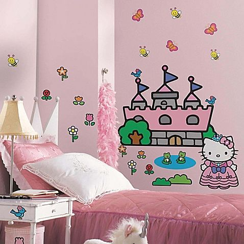 image of Hello Kitty® Princess Castle Giant Wall Decal