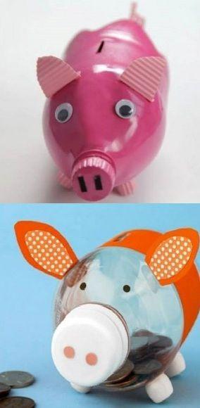 17 best ideas about homemade piggy banks on pinterest for Plastic bottle piggy bank craft