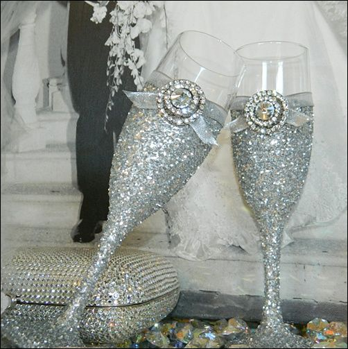 75 00 Custom Silver Glitter Wedding Champagne Glasses Set