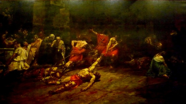 The Spoliarium is the most valuable oil-on-canvas painting by Juan Luna, a Filipino educated at the Academia de Dibujo y Pintura (Philippines) and at the Academia de San Fernando in Madrid, Spain. With a size of 4.22 meters x 7.675 meters, it is the largest painting in the Philippines. A historical painting, it was made by Luna in 1884 as an entry to the prestigious Exposicion de Bellas Artes (Madrid Art Exposition, May 1884) and eventually won for him the First Gold Medal.