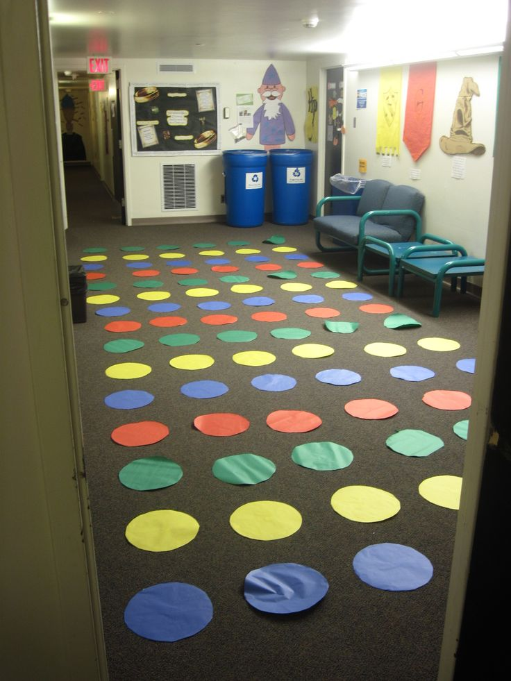 Hall Council had a Twister program so I brought up the extra circles and put them on the floor. Hilarity ensued.