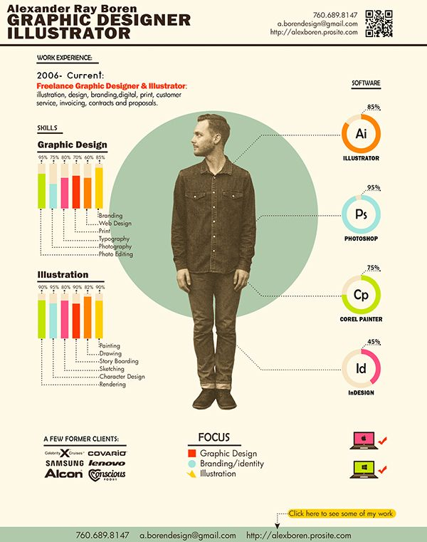 Visual Resume Alexander Ray Boren Graphic Designer Infographic - freelance designer resume