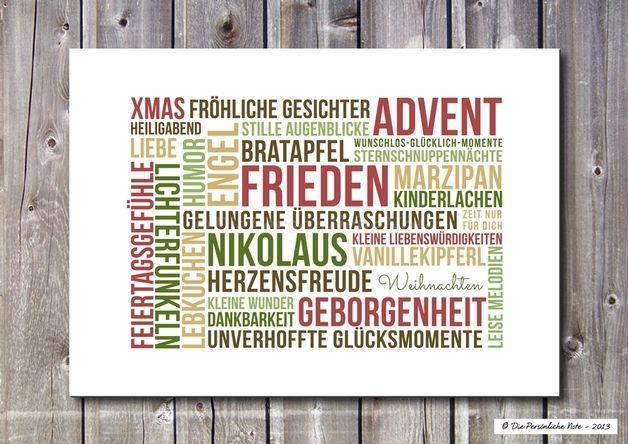 Druck/Wandbild/Print: Weihnachtswünsche in Bunt