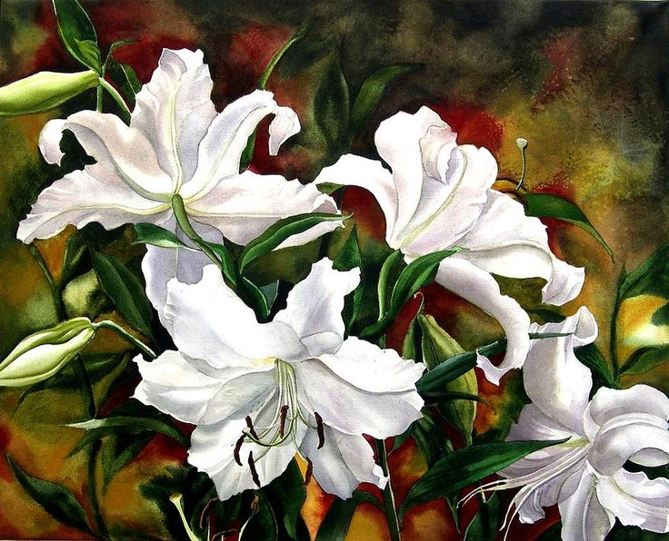 White Lilies Painting  - White Lilies Fine Art Print