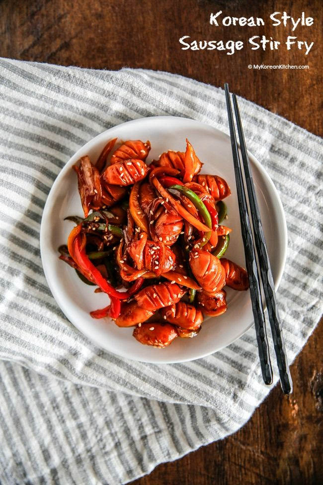 Korean Style Sausage Stir Fry is a popular side dish for a Korean lunchbox! | MyKoreanKitchen.com