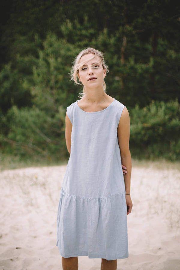 8d7abd8b5e Etsy Simple linen dress without pockets   Summer dress   Linen dress   Dusty  blue linen dress    5G  affiliate