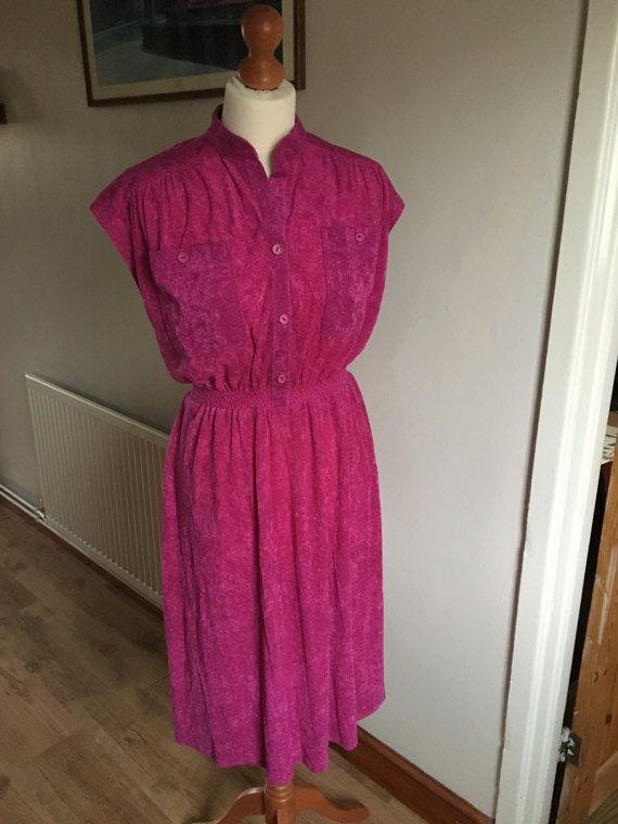 Vintage Pink Dress  1960s / 1970s  hot pink  'C&A'