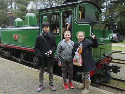 Puffing Billy carriage, hot dogs and 3 excited kids: Day 2 of our Host Family Excursions saw us all up high in the Dandenong Ranges.  Here we boarded the Puffing Billy Locomotive at Emerald Lake railway station