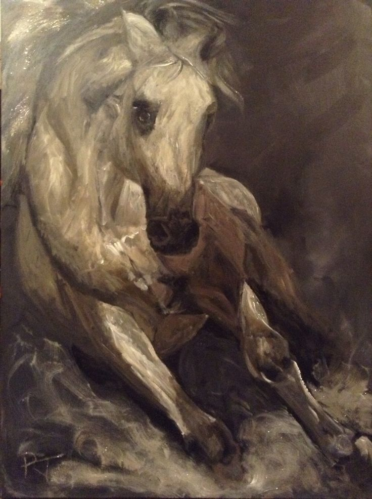 WILD - French carmgue horse in surf - mixed media