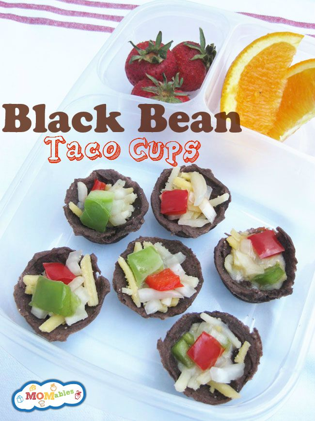 Super simple black bean taco cups. Would fill with cheese, bell peppers and maybe onions.