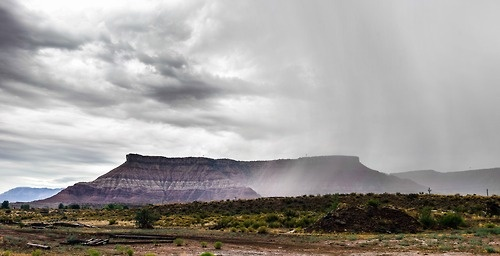 patagonia:    Rain just outside Zion National Park, Utah, USA.: Zion National Park