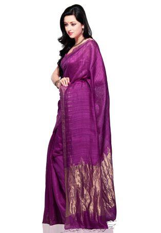 Dark Purple Pure Matka Silk Bengal Handloom Saree with Blouse
