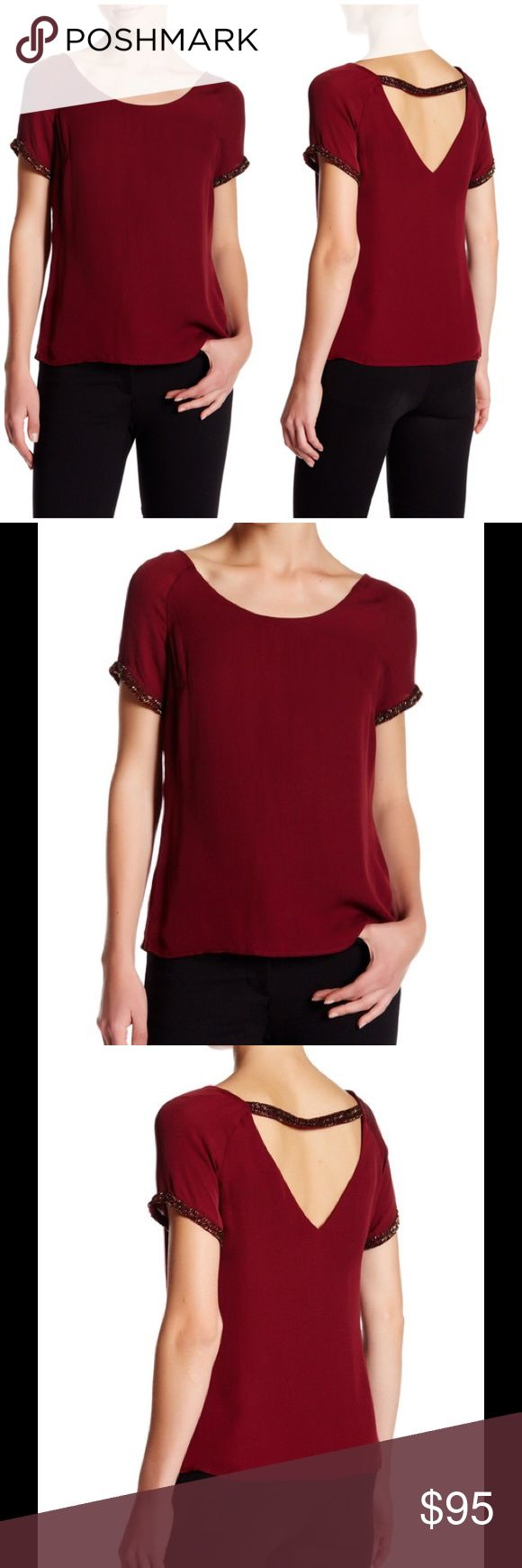 "🆕 Rebecca Minkoff Zoey silk blouse merlot - Scoop neck - Short sleeves - Back cutout - Bead embellished trim - Lined - Approx. 23"" length - Imported Fiber Content 100% silk Care Dry clean Fit: this style fits true to size. Brand new with tag. Retail price $328. Rebecca Minkoff Tops Blouses"
