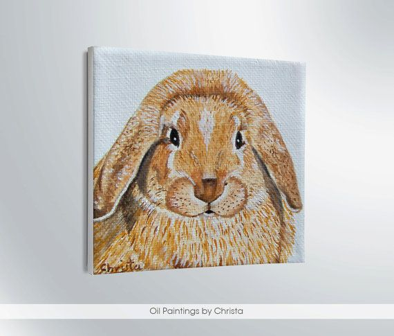 BUNNY PAINTING pet portrait oil painting by OilpaintingsChrista