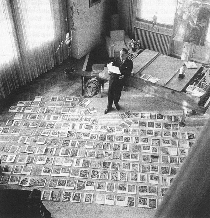 "André Malraux assembling the images for ""The Voices of Silence"""