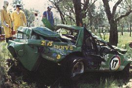 Hardies Heroes The horrifying aftermath of #Dickjohnson's monumental crash during Hardies Heroes on the Saturday. Johnson emerged from the left hand side door remembering nothing about the crash, or the wild ride into it, or being picked up by #Brock.#ford #v8supercars