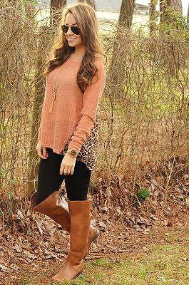 Shop-Hopes-Boutique-Leopard-Print-Back-High-Low-Knit-Sweater-Size-M