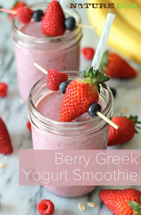 Berry greek yogurt smoothie 1/2 cup sliced strawberries 1/2 cup raspberries 1/2 cup blueberries 1 ripe banana 1 cup Greek yogurt 2 tablespoons old fashioned oats 1-2 tablespoons agave (optional)