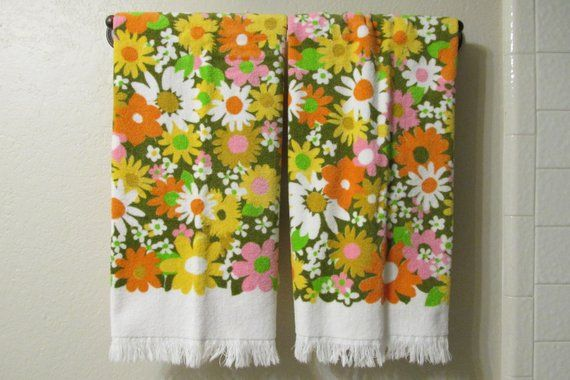 Vintage Floral Bath Towel Vintage Bathroom Decor Vintage Flower