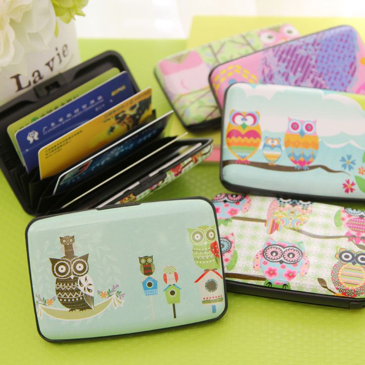 Cute Owl 7 Pockets Plastic Box Commercial Business Card Book Card Stock Name Cards Credit Bank Card Holder