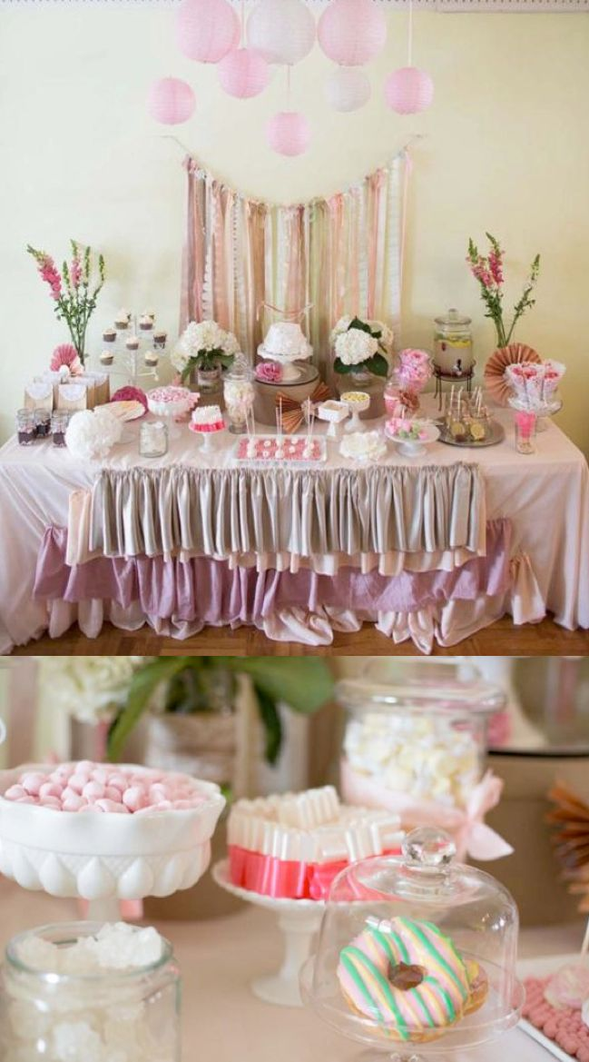SHABBY CHIC + LACE party ideas! Love the ruffle tablecloth. More ideas via Karas Party Ideas KarasPartyIdeas.com