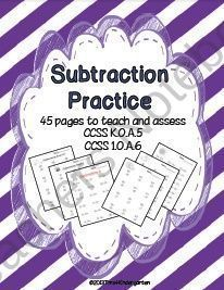 Subtraction Practice for the Common Core from Time 4 Kindergarten on http://TeachersNotebook.com (47 pages)