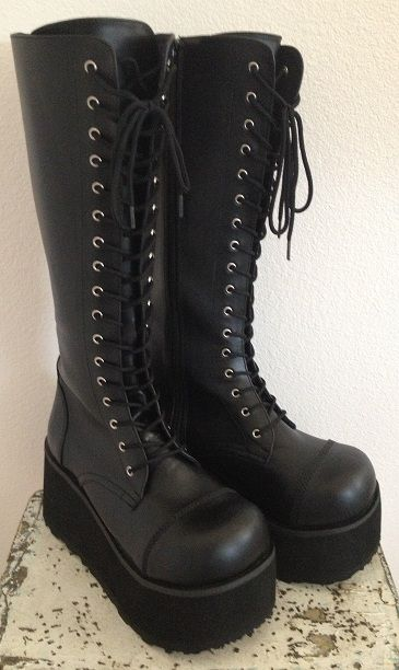 GothAuctions.com - Free Gothic Auctions - Demonia Trashville Black Wedge Platform Knee High Boots 8 - Listed by chopstix!