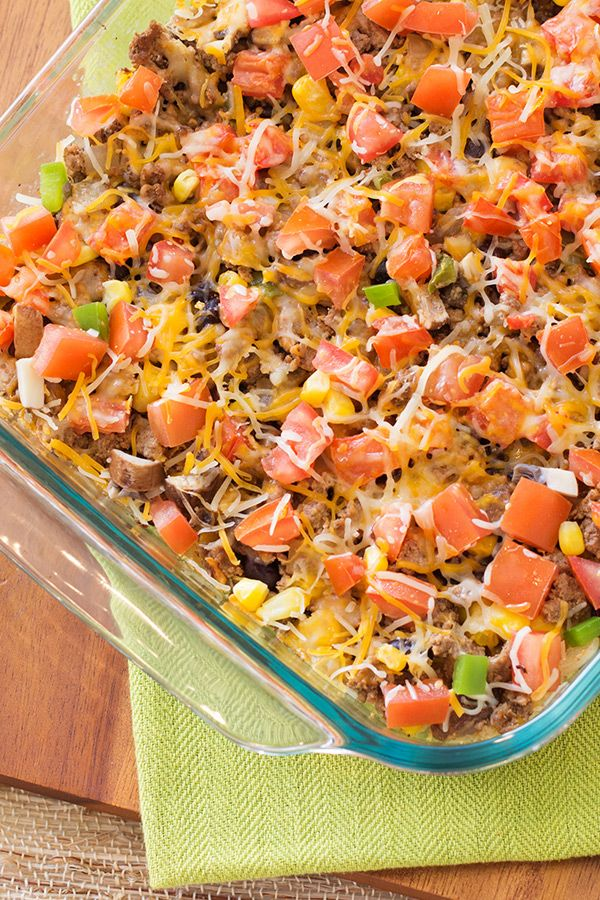Taco Time! It's so easy to concoct healthy Mexican-inspired meals -- this Cheesy Taco Casserole recipe is proof! Great family meal, and just 225 calories per serving! Get the recipe from Hungry Girl!