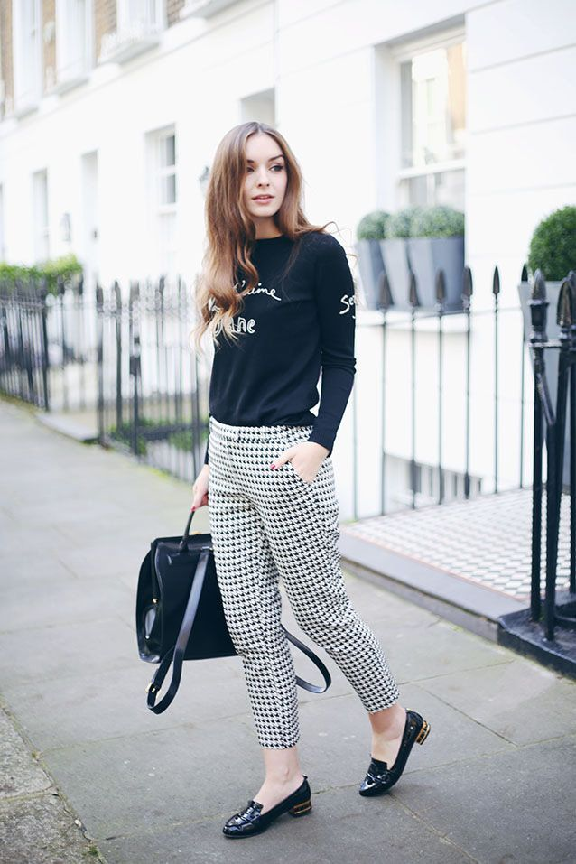 Black Sweater with Houndstooth Trousers and Black Loafers