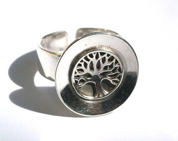 Tree of Life Ring Sterling Silver Ring Domed Ring Tree of
