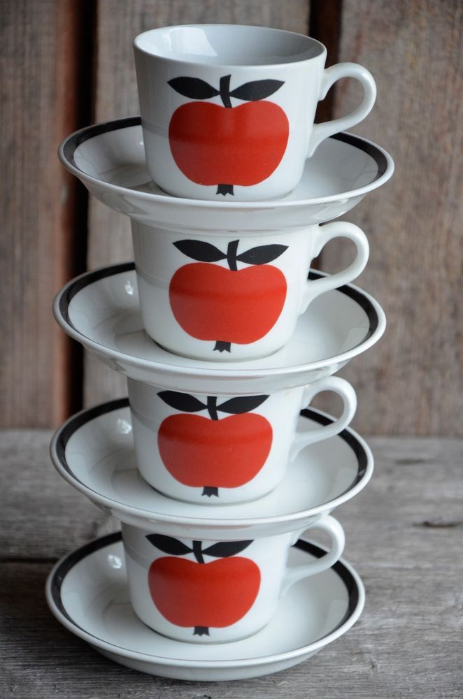 Rare Vtg Arabia Finland Set of 4 OMENA - APPLE Coffee C & S model Kaj Franck