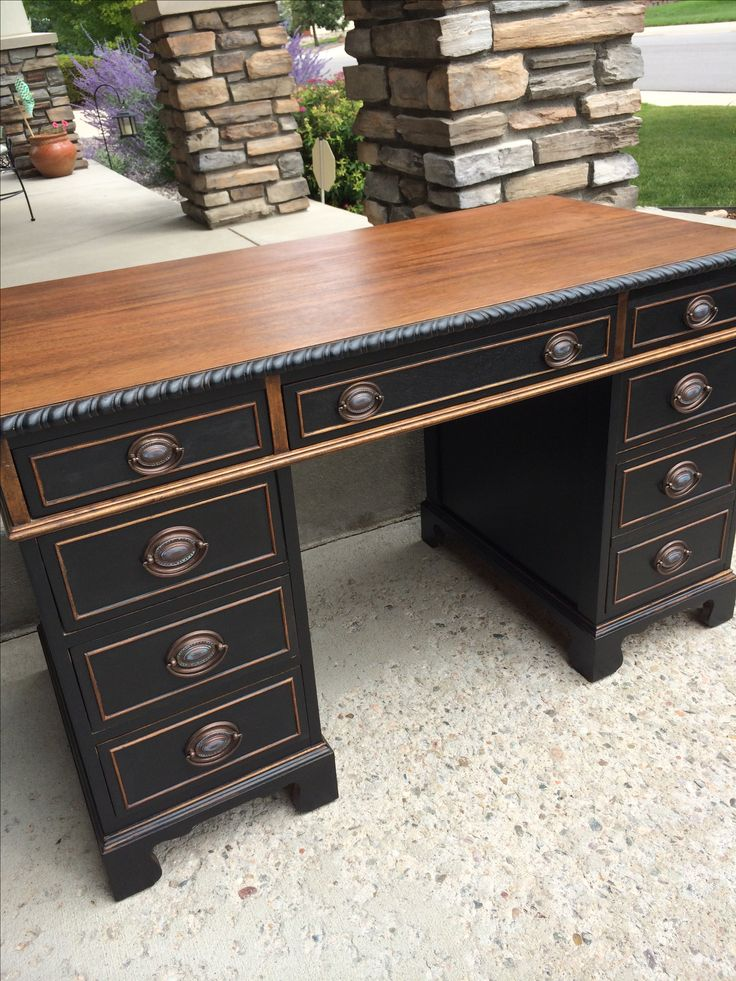 redoing furniture ideas. black and wood amazing desk redo by eclectic grey located in ft collins co at vines vintage market redoing furniture ideas