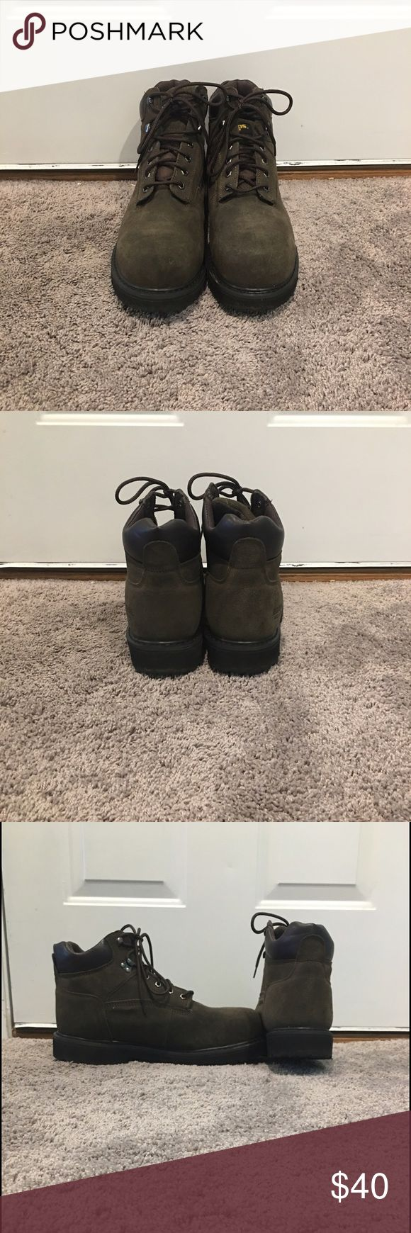 Men's Boots Men's steel toe work boots, in great condition, barely worn BRAZOS Shoes Boots