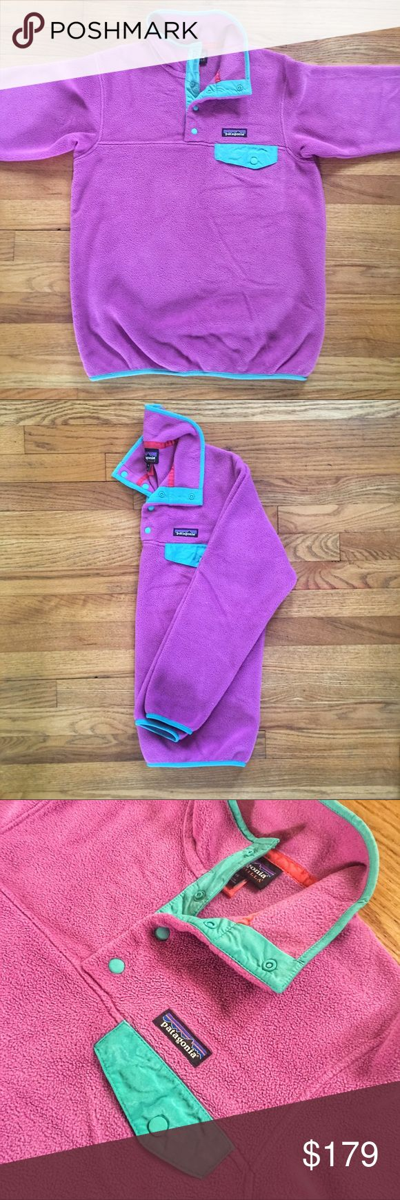 NWOT VNTG Patagonia Snap-T Synchilla Jacket NWOT Vintage Patagonia Snap-T Synchilla Fleece pullover jacket.  Size is XS.  Colors are a purplish/pink and teal.  New without tags. See something you like but it's not here next week? We sell in store and across multiple platforms, so items go quick! If you're interested, act on it! Patagonia Jackets & Coats