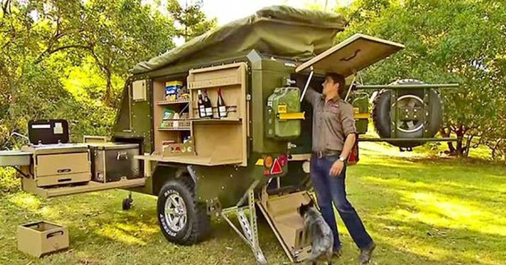 Cattle Dog with a cool Conqueror Australia camping trailer