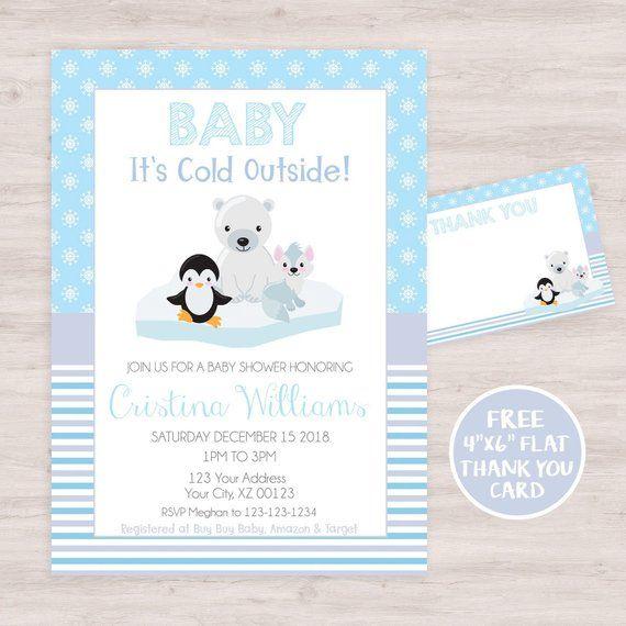 Winter Wonderland Baby Shower Invitation Penguin Baby Shower Etsy Penguin Baby Shower Invitations Winter Wonderland Baby Shower Winter Baby Shower Invitations