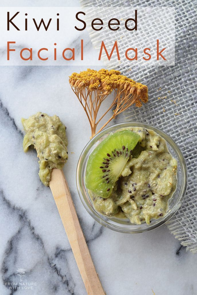 Our Kiwi Seed Facial Mask recipe combines the Vitamin-rich flesh of a fresh kiwi with our cold-pressed Kiwi Seed Oil, a few drops of soothing Yarrow Essential Oil, honey, and a scoop of deep-cleansing Bentonite Clay.
