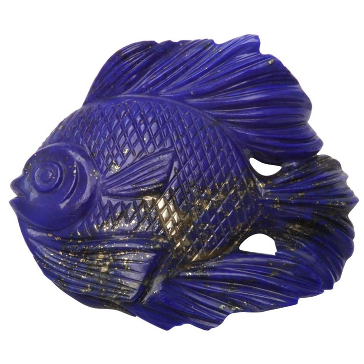1stdibs | A hand carved lapis lazuli fish weighing approximately 25cts