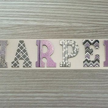 Custom Hand Painted Letters Wooden Wall Hanging Modern Design Chevron Gift Baby Child Name Nursery Decor Girl - Harper