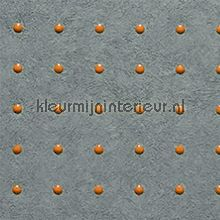 Dots oranje op grijs behang Arte Modern Abstract