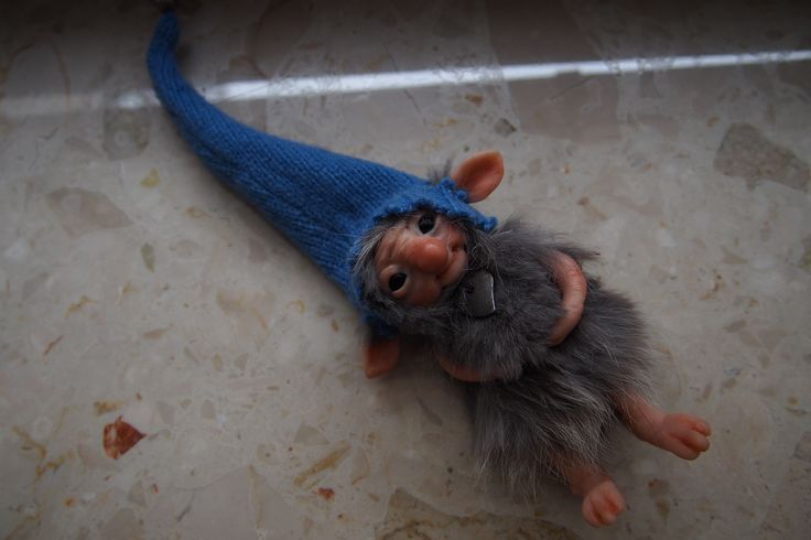OOAK fantasy art doll little grey troll gnome GLO by Muyestillo