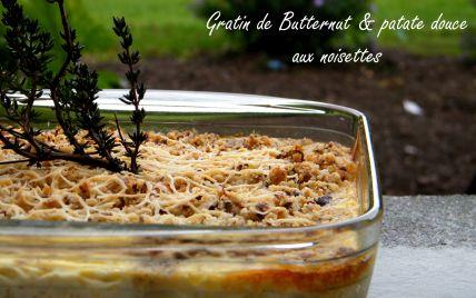 Recette - Gratin de courge butternut & patate douce aux noisettes | Notée 4.2/5