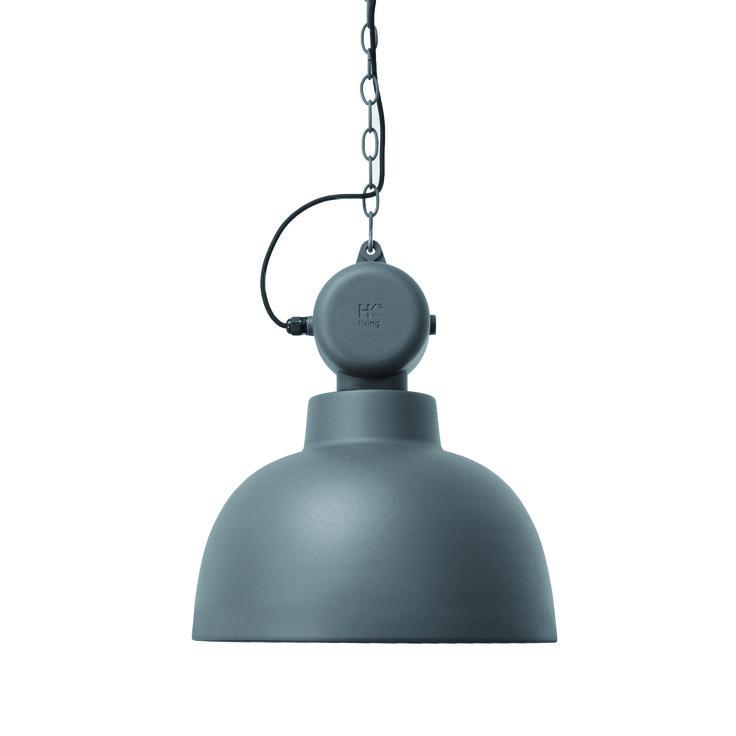 Voor wie zwart nét te zwart vindt. Stoere factory lamp van HK Living in mat antracietgrijs. Voor alle liefhebbers van eigentijdse interieurs.