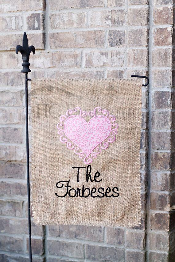 Burlap Valentineu0027s Garden Flag, Valentineu0027s Day, Winter, Personalized