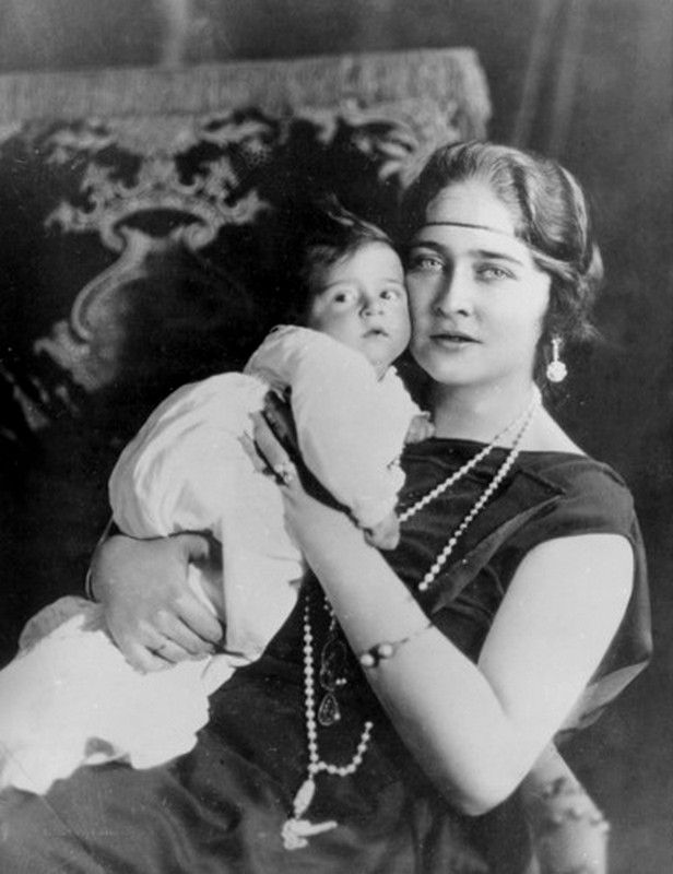 Queen Marie of Yugoslavia (nee pss of Romania aka Mignon) with firstborn son, crownprince Peter, later King Peter Ii of Yugoslavia.