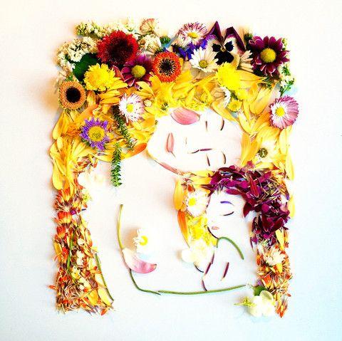 Floral Klimt's Mother and Child
