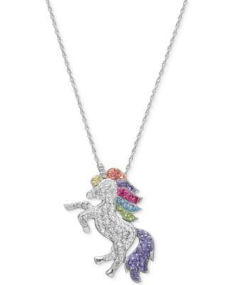 Kaleidoscope Swarovski Crystal Unicorn Pendant Necklace in Sterling Silver | macys.com
